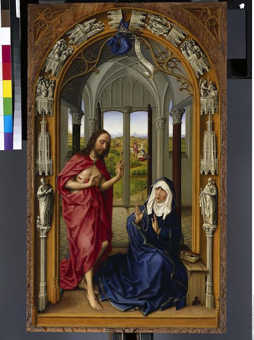 Der Marienaltar (Miraflores-Altar) / Rechte Tafel: Der Auferstandene erscheint seiner Mutter